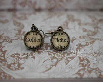 Golden Ticket Earrings ~ Charlie And The Chocolate Factory ~ Roald Dahl ~ Willy Wonka ~