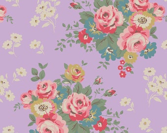 Upholstery Light Lavender Fabric, Floral Print, Georgette Viscose Dress Fabric, Crafting, Antique Fabric, Fabric By The Yard, MIN-FL22D
