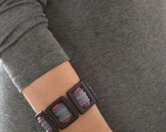 Textile bracelet, artsy modern bracelet, textile jewelry, idea gift for woman