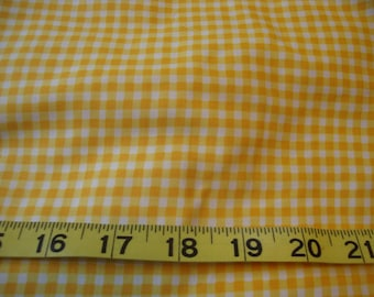 Yellow White Printed Gingham Check Cotton Fabric Flower Friends