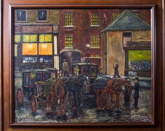 Vintage oil painting, English painting, Maurice Parker, framed painting, Northern interest, Yorkshire