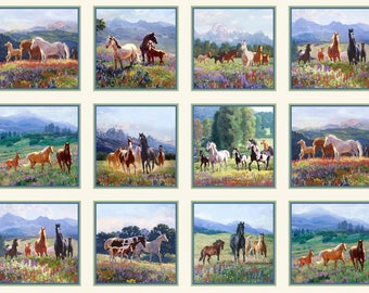 "Horses - Small Squares cotton panel -- approximately 23"" x 44"""