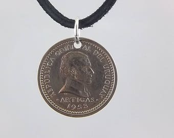 Uruguay Coin Necklace, 2 Centesimos, Coin Pendant, Mens Necklace, Womens Necklace, Leather Cord, Vintage