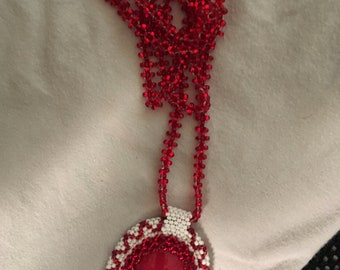 Handmade Native American Necklace with Red Stone