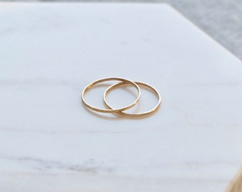 Minimal & Simple 14K Gold Ring with Hammered Pattern