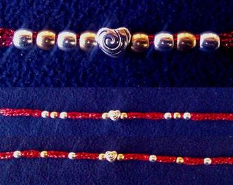 Metallic Red French Knit Bracelet with Swirly Heart Charm (3 ways to wear)