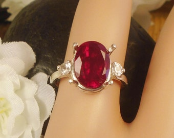 Certified Red Ruby July Birthstone Ring, Sterling Silver, 4.45 Carat Quality 10.14 x 8.44 mm Natural Red Ruby, July Birthstone gem