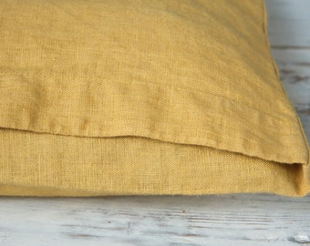 Linen DECORATIVE PILLOW CASE - Linen Cushion Covers - Linen Home Decor - Yellow Cushion Cover - Linen Pillow Case