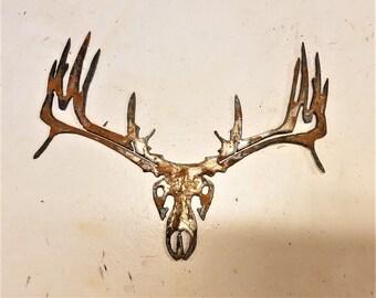 6 inch Deer Buck Skull Head Metal Rough Rusty Vintage-y Steel Wall Art Ornament Craft Sign Wind Chime