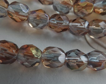 Czech Glass fire polish faceted round beads crystal aurum-6 mm faceted round-50-Jablonex clear pale copper blue gray tones great with stones