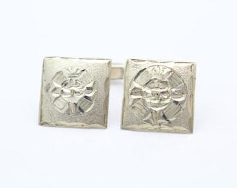 Square Mayan/Aztec Sun Design Cufflinks in Sterling Silver. [8371]