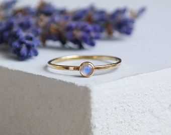 Moonstone Ring, Gold Ring, Gold Moonstone Ring, Stacking Rings, Birthstone Ring, 9ct Gold Ring, Solid Gold Ring, Dainty Ring, Gemstone Ring