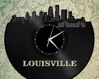 Modern Wall Clocks - Lousiville Wall Clock,Cityscape Clock, Vinyl Record Clock,Unique Wall Clock,Large Wall Clock, Vinyl Clock, Record Clock