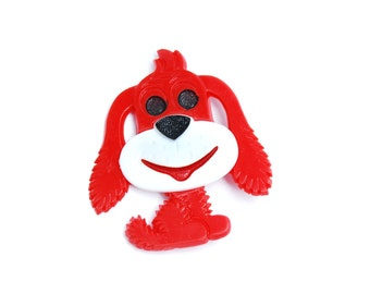 Vintage DDR dog brooch, cute colorful red black and white animal pin for kids, collectible fashion accessory from Germany, 1980s