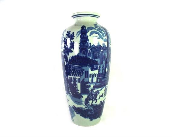 Vintage Blue and White Stoneware Vase