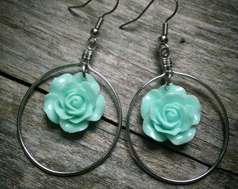 Mint flower dangle hoop earrings
