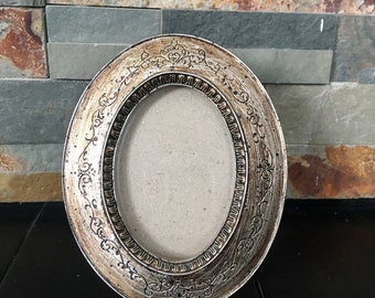 Vintage Silver and Bronze Picture Frame//Detailed Photo Frame// Antique Frame// Old picture Frame// Silver Photo Frame