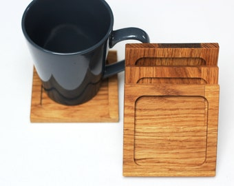 Coffee Coaster  Oak Wood Coaster,Funny coaster,Coffee Table Coaster ,Gift ,Office coaster ,Tableware ,Gift for him/her,Wooden Coasters Set 4