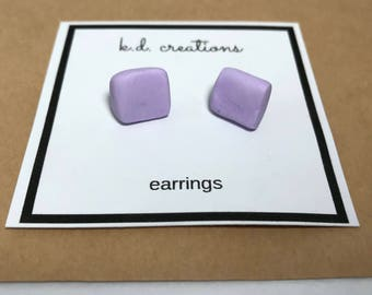 Square Stud Earrings - Handmade from Polymer Clay by k.d. creations
