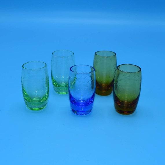 Color Etched Set of 5 Liquor Glasses Vintage Barware Shot Glasses Cordial Glass Set Multi Color Mid Century Barware Replacement
