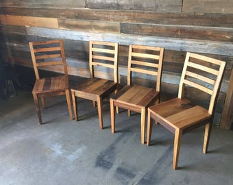 Reclaimed Barn Wood Dining Chair With Tapered Legs