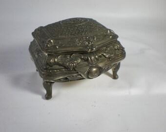 Beautiful Vintage Sweet Silver Trinket Box