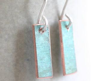 Rectangular verdigris copper earrings