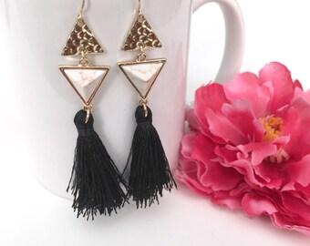 tassel earrings - white turquoise drop earrings - bohemian jewelry - geometric dangle earrings - handmade gift for her - womens jewelry gift