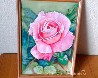 Big Pink Rose Flower original painting watercolor and gouache art artwork artgift beautiful wall decor A4 size gift for her
