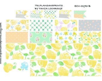ECV-0170-B Stickers - Spring Softness! Boho/Shabby Chic Bottom Washi/Half-Boxes/Flags - Erin Condren, Happy Planner, Recollections