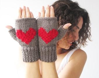 Valentines Day Fingerless Gloves - Mittens Brown - Red