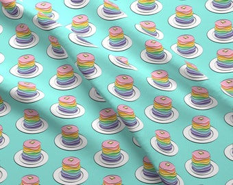 Color Breakfast Fabric - Rainbow Pancake Stack By Littlearrowdesign - Breakfast Colorful Pancakes Cotton Fabric By The Yard With Spoonflower