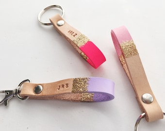 Custom Color & Personalized Gold-dipped Leather Keychain