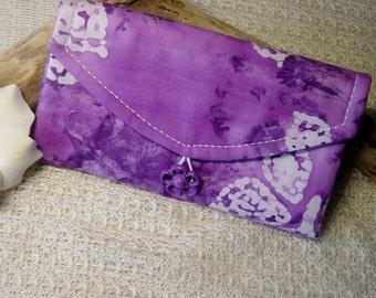 Travel Jewelry Organizer - Jewelry Wallet - Clear Pocket Organizer - Butterfly Batik Purple Fabric - Travel Jewelry Storage - Gift for Her