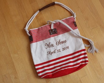 Tote bag personalized. Mrs Tote, RED, bachelorette gift, beach bag, bridal tote, bride gift, bridesmaid tote, monogrammed beach bag. T1R F38