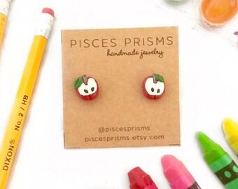 Apple Earrings, Back to School Earrings, School Earrings, Apple Earrings, Teacher Gifts, Teacher Earrings, School Jewelry, Red Apples, Apple
