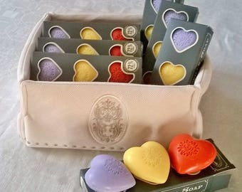 Party day 3 heart soaps, handmade soap, 75 g of SOAP, SOAP case, know heart, SOAP, lavender, honeysuckle, poppy SOAP SOAP
