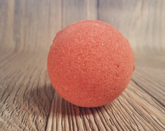 Cherry Almond Large Bath Bomb, Shea Butter Embed, Red Bath Bomb