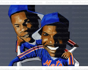 Darryl Strawberry and Dwight Gooden, New York Mets, 1986 World Series Art Photo Print