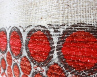 Late 70s curtain fabric, woven red cream fabric, NOS