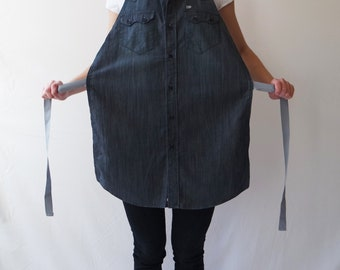 Denim Upcycled Apron, Shirt Apron, Denim Shirt Apron, Workshop Apron, Kitchen Apron, Shirt Apron, Grayish Blue Denim Apron, Upcycled