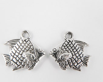 10 Fish Charms - Antiqued Silver - Double Sided - 16mm x 17mm
