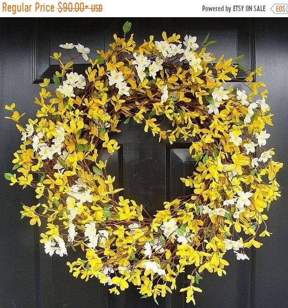 SUMMER WREATH SALE Forsythia Spring Wreath- Yellow Wreath- Year Round Wreath Decor
