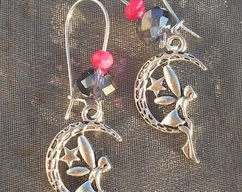 Fairy in pink and Black Moon earrings