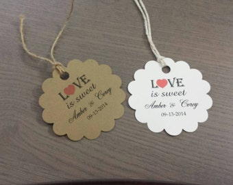 Personalized Favor Tags 2', Wedding tags, Thank You tags, Favor tags, Gift tags, Bridal Shower Favor Tags, love is sweet