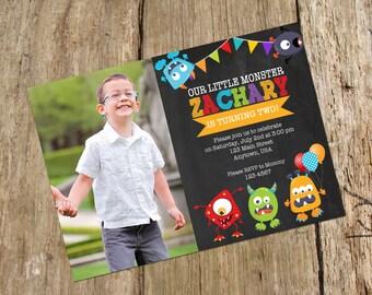 Monster Birthday Bash Party Photo Invitation, Chalkboard design