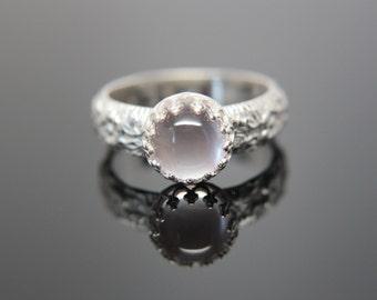 Daisy Chain Ring Sterling Silver. Feminine floral patterned boho wedding ring. Hippie wedding ring. Moonstone Amazonite Gemstone.