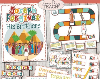"""LDS Primary 6 lesson 17: """"Joseph Forgives His Brothers"""" Lesson helps include Title Poster, Game, I forgive medal and much more!"""