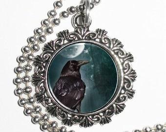 Raven Crow Art Pendant, Black Bird Resin Art Pendant, Photo Charm Necklace