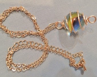 Gold Wire Caged Marble Pendant Necklace #20029